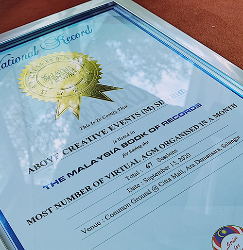 The Malaysia Book of Records - Most Number of Virtual Annual General Meetings in a Month